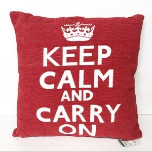 Keep Calm and Carry On Red White Throw Pillow